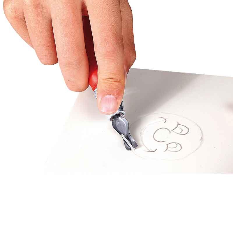 Bastelbedarf in der Schule - Sicherheits-Schneidemesser für Gummiplatten
