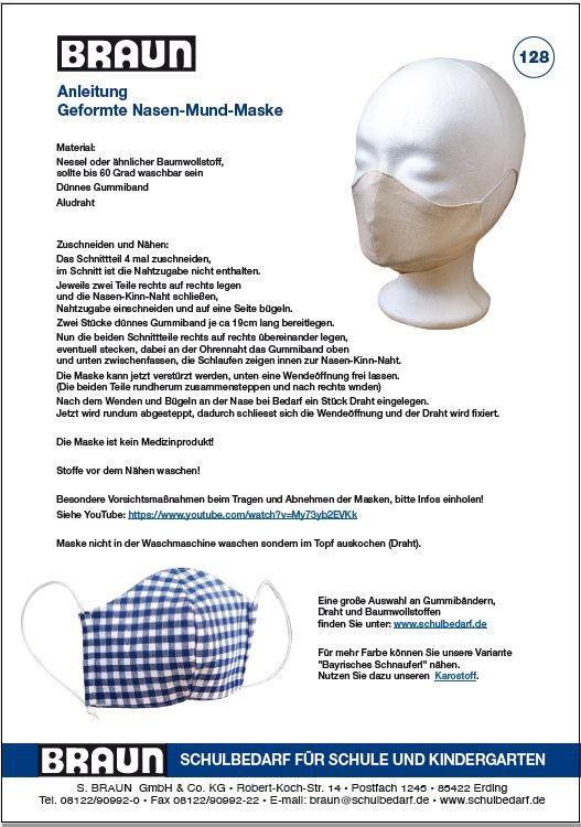BRAUN Schulbedarf - Kostenlose Anleitung Nasen-Mund-Maske Nähen