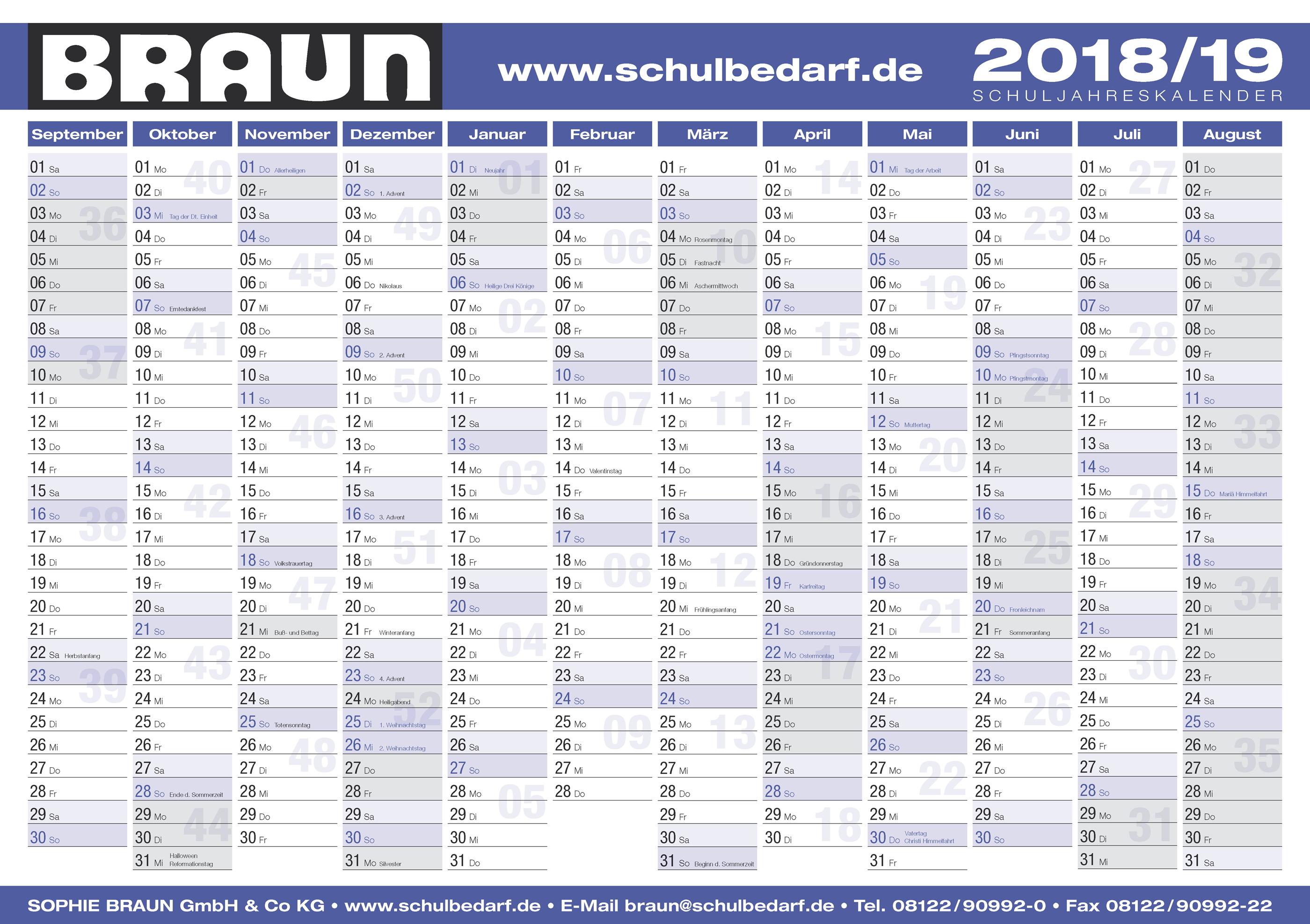 BRAUN Schulbedarf - Für Schule und Kindergarten - Wandkalender 2019