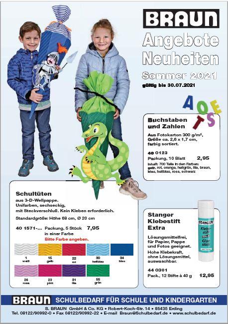BRAUn Schulbedarf - Kindergarten - Schule - Sommerangebot Bastelbedarf