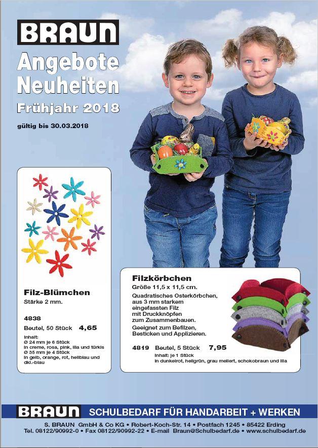 Braun Schulbedarf Frühjahrsangebot 2018